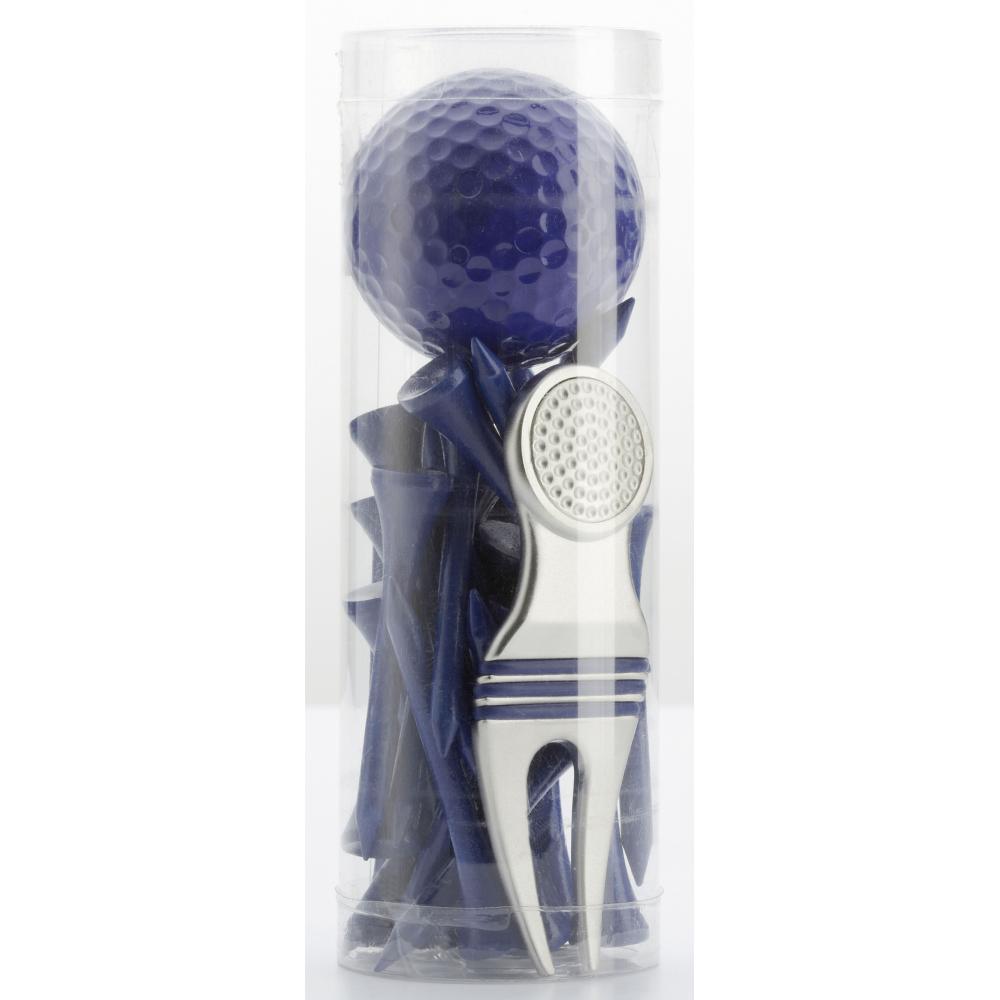 geschenk set mit pitchgabel ball und tees blau. Black Bedroom Furniture Sets. Home Design Ideas