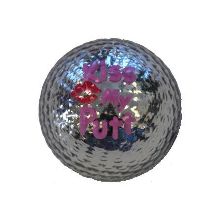 Bling (Metallic) Golfball-Set, Kiss my Putt silber