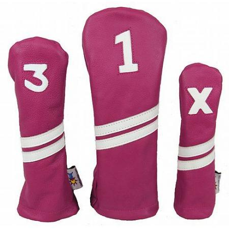 Sunfish Leder Headcover Ace, pink/weiß