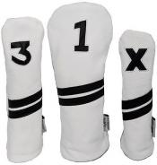 Sunfish Leder Headcover Ace, weiß/schwarz, 3er Set