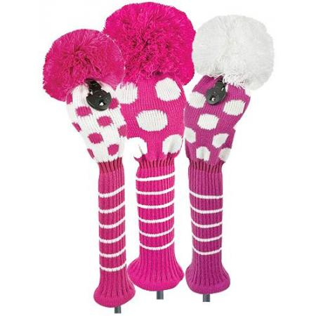 Bommel Strick Headcover, pink