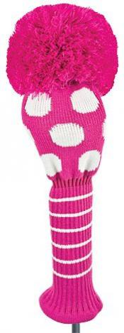 Bommel Strick Headcover, pink, Driver Punkte