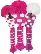 Bommel Strick Headcover, pink, 3er Set