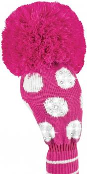 Bommel Sparkle Strick Headcover, pink, Driver Punkte