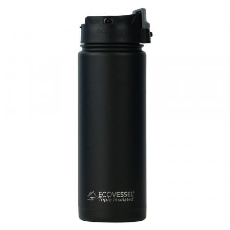EcoVessel The Perk Thermo Trinkflasche 600ml, schwarz