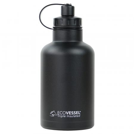 EcoVessel Boss Growler Thermo Trinkflasche 1900ml, schwarz