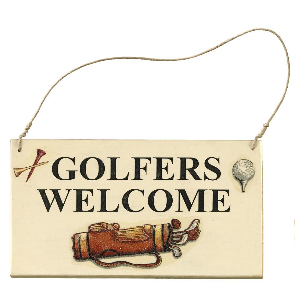 t rschild aus holz golfers welcome. Black Bedroom Furniture Sets. Home Design Ideas